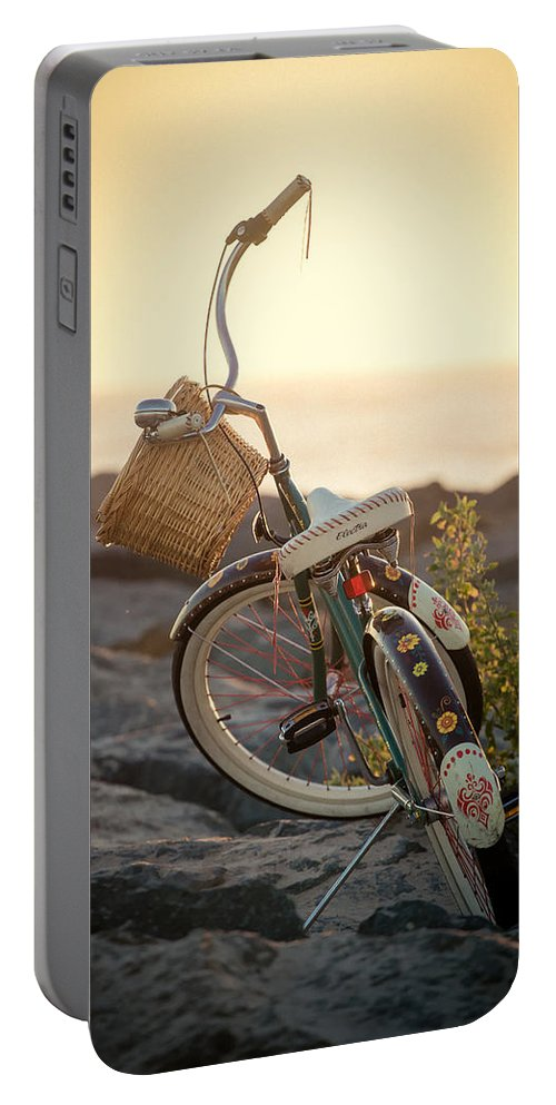 Beach Portable Battery Charger featuring the photograph A Bike And Chi by Peter Tellone