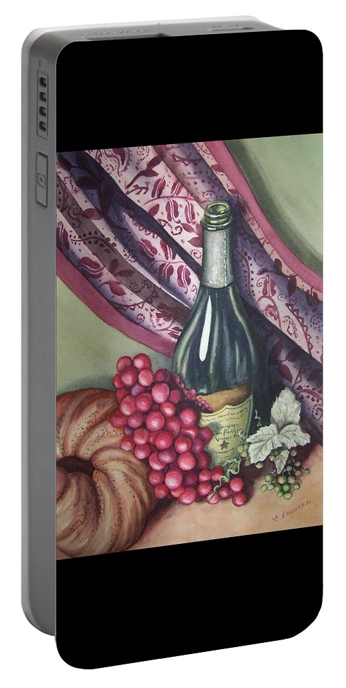 Wine Portable Battery Charger featuring the painting A Bit Of Tuscany by Conni Reinecke