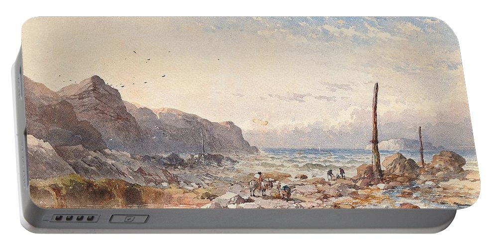 Breeze Portable Battery Charger featuring the painting A Breezy Day With Fisherfolk On The Foreshore by William Cook of Plymouth