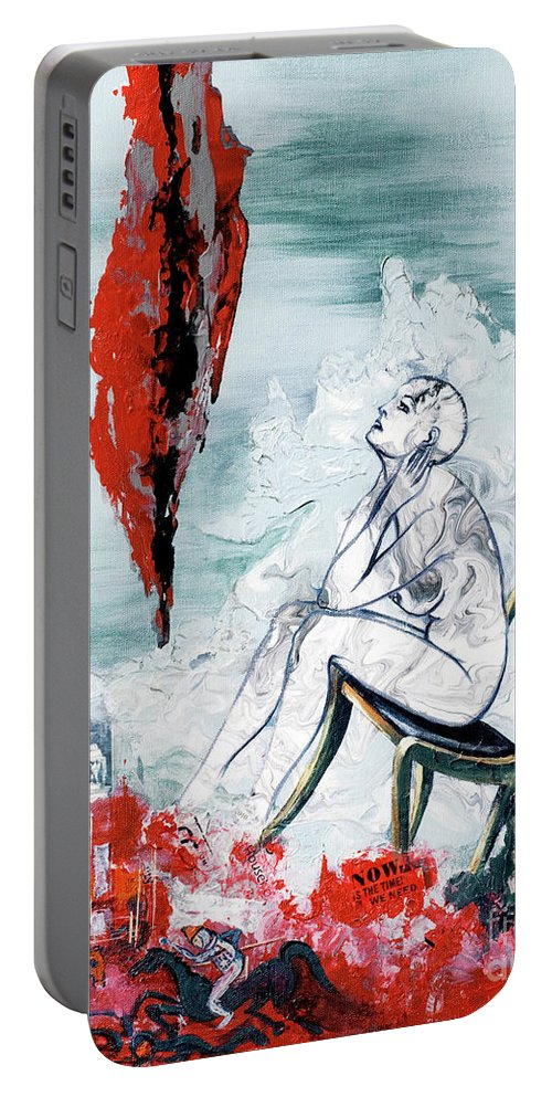 Canvas Prints Portable Battery Charger featuring the painting A Chair For My Heart Please - Thank You. by Elisabeta Hermann