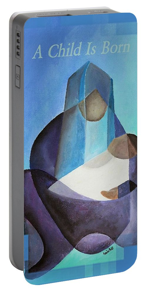 Christmas Portable Battery Charger featuring the painting A Child Is Born Christmas Greeting by Taiche Acrylic Art