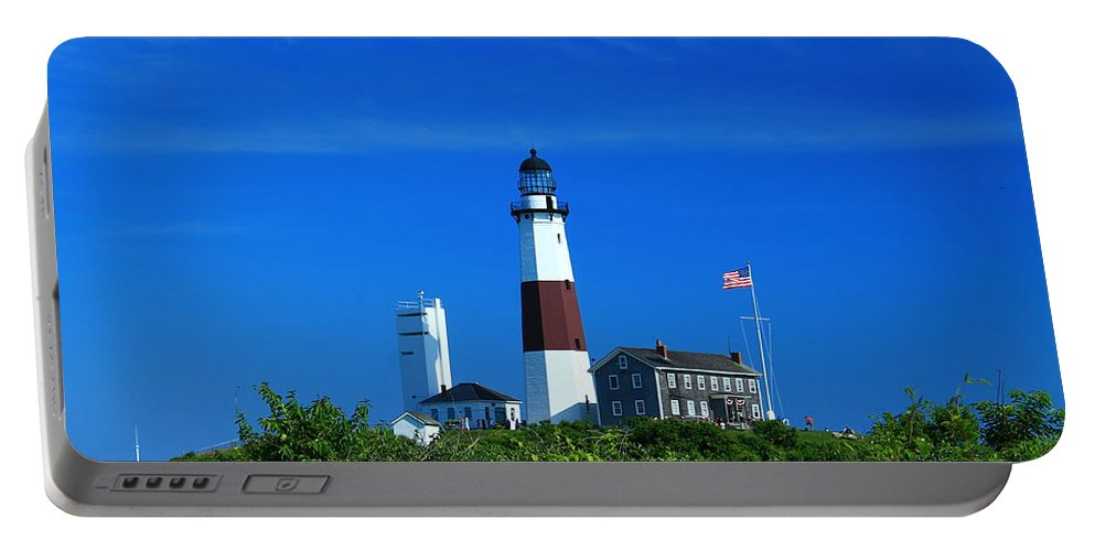 Montauk Portable Battery Charger featuring the photograph A Clear Day by Catie Canetti