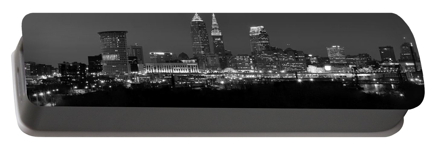 Abstract Portable Battery Charger featuring the photograph A Cleveland Black And White Night by Frozen in Time Fine Art Photography