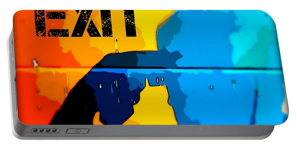Dark Humor Portable Battery Charger featuring the photograph A Colorful Exit by John Malone Halifax photographer