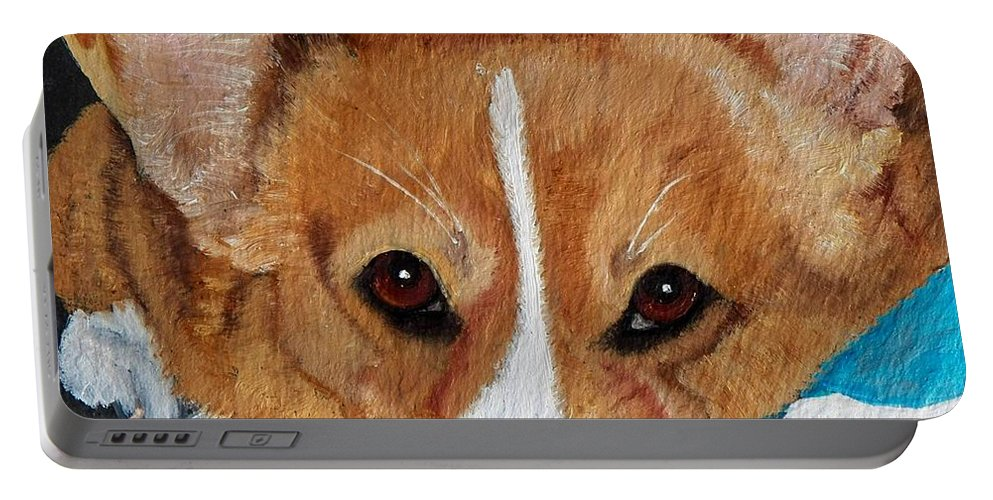 Corgi Portable Battery Charger featuring the painting A Corgi Remembered by Debbie LaFrance