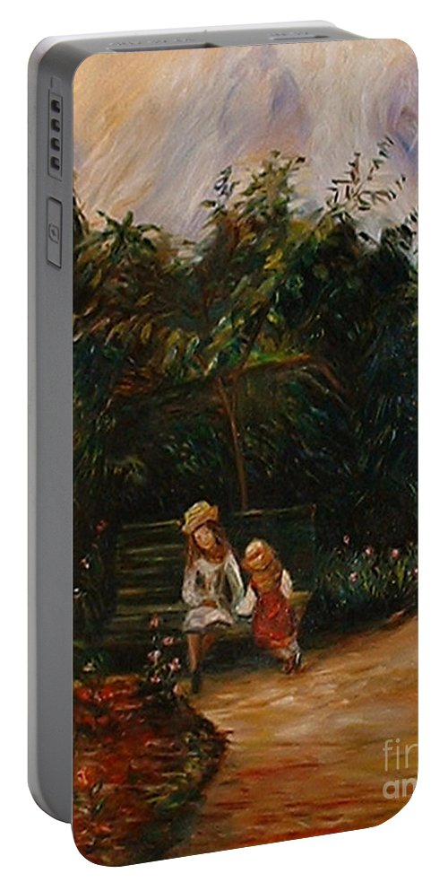 Classic Art Portable Battery Charger featuring the painting A Corner Of The Garden At The Hermitage by Silvana Abel
