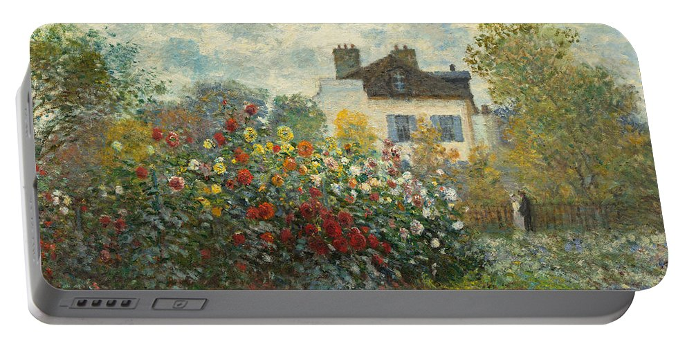 French Portable Battery Charger featuring the painting A Corner Of The Garden With Dahlias by Claude Monet