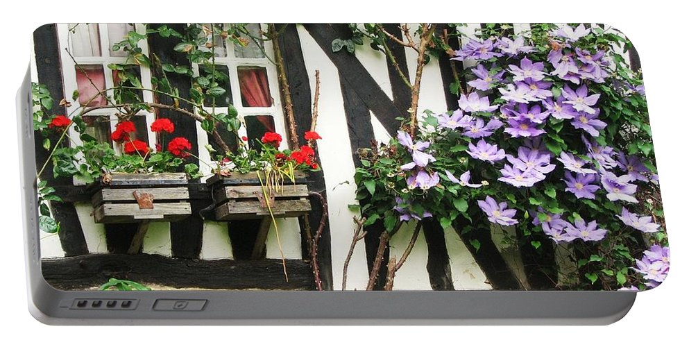 Cottage Portable Battery Charger featuring the photograph A Cottage In Normandy by Mary Ellen Mueller Legault