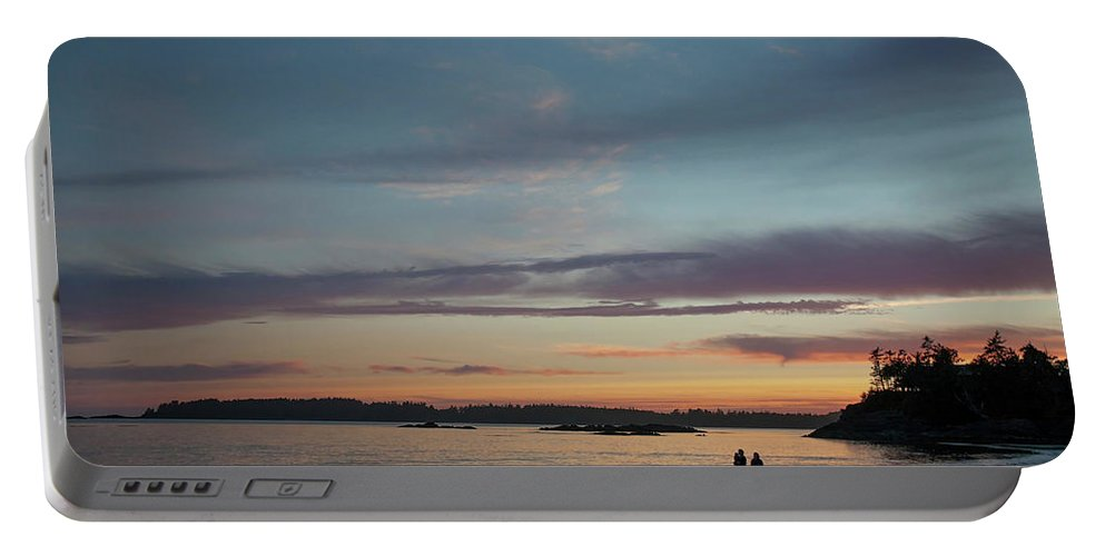 Heterosexual Couple Portable Battery Charger featuring the photograph A Couple Walk Along The Shore by Christopher Kimmel