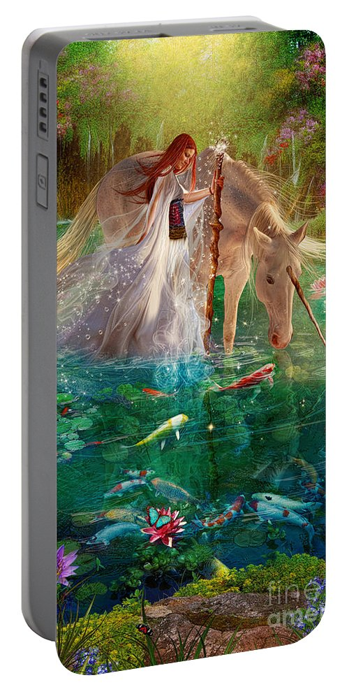Girl Portable Battery Charger featuring the digital art A Curious Introduction by Aimee Stewart