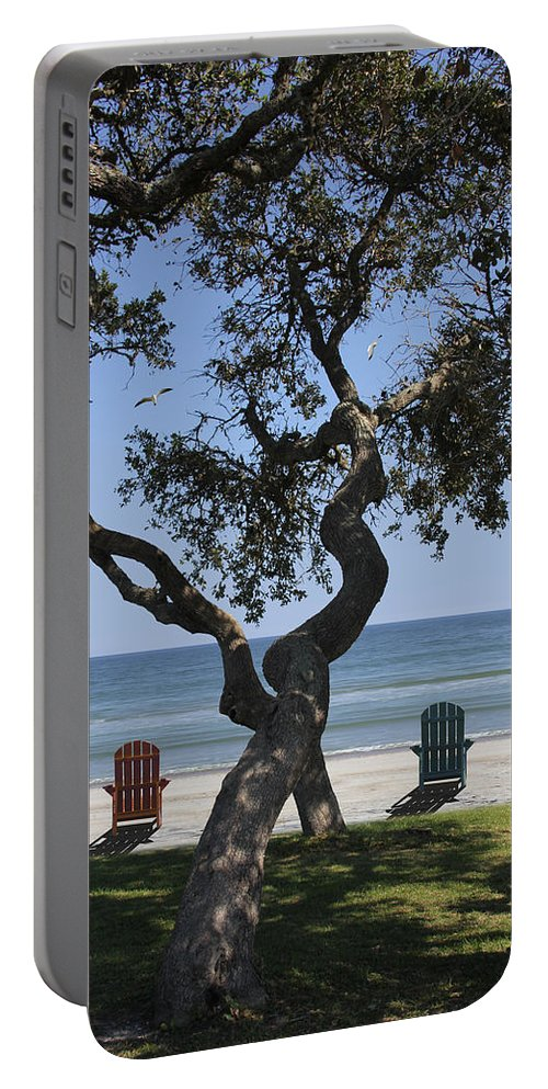 Seascape Portable Battery Charger featuring the photograph A Day At The Beach by Mike McGlothlen