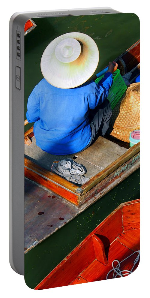 Thailand Portable Battery Charger featuring the photograph A Day At Work On A Thai Canal by Kaleidoscopik Photography