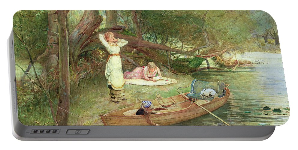 River Portable Battery Charger featuring the painting A Day On The River by John Parker