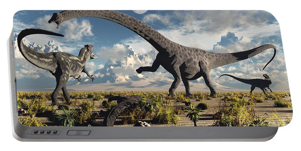 Artwork Portable Battery Charger featuring the digital art A Deadly Confrontation by Mark Stevenson