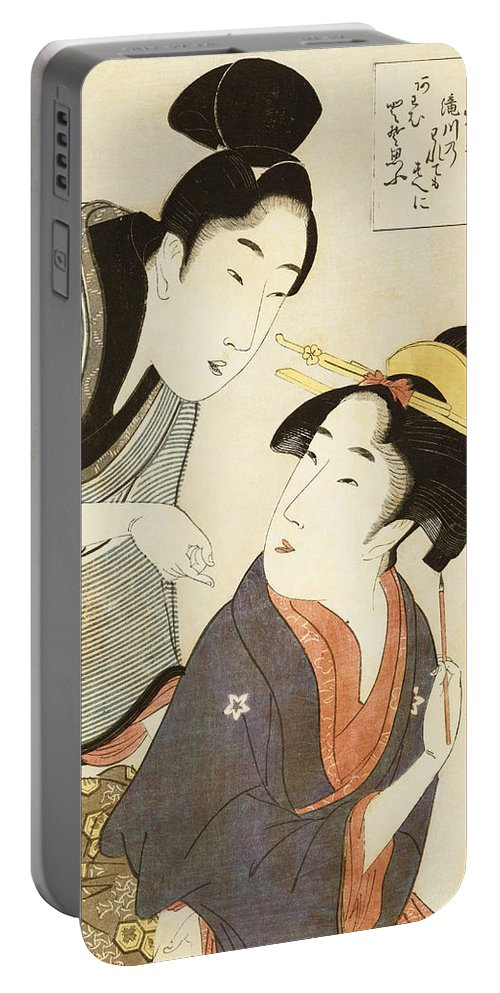 Male Portable Battery Charger featuring the painting A Double Half Length Portrait Of A Beauty And Her Admirer by Kitagawa Utamaro