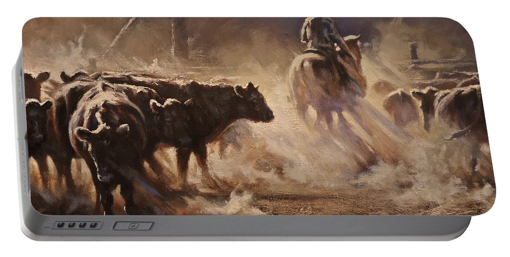 Cattle Portable Battery Charger featuring the painting A Dusty Sort by Mia DeLode