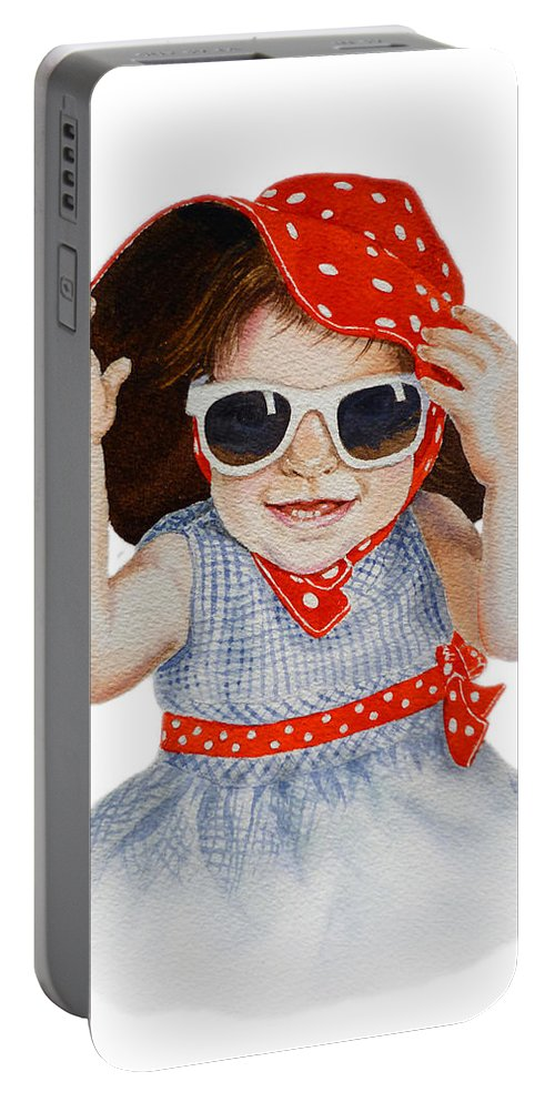 Red Hat Portable Battery Charger featuring the painting A Fashion Girl by Irina Sztukowski