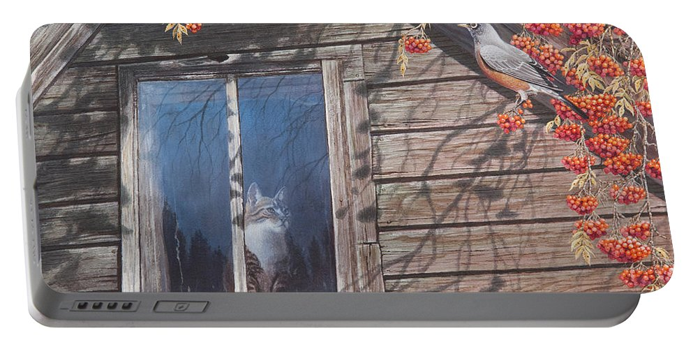 Cat Portable Battery Charger featuring the painting A Feast For The Eyes by Mike Stinnett