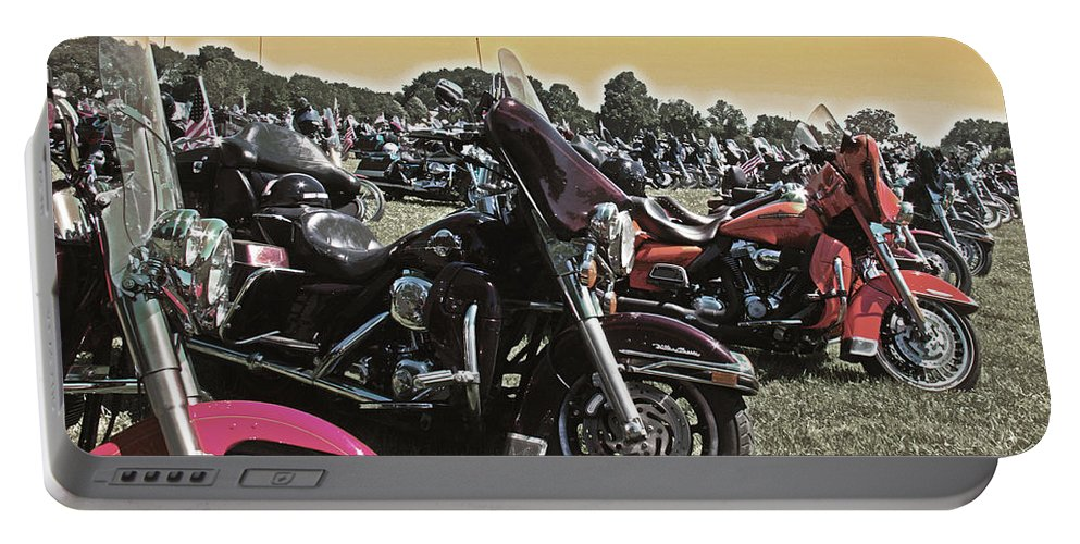 Hogmotorcycle Portable Battery Charger featuring the photograph A Few Hogs In The Sun by Tom Gari Gallery-Three-Photography