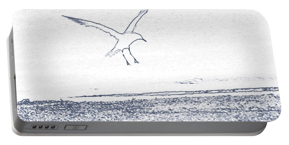 Seagull Portable Battery Charger featuring the photograph A Fine Flight by Karol Livote