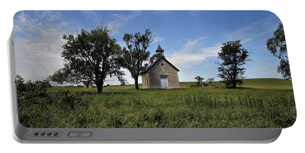 Bichet Portable Battery Charger featuring the photograph A Flint Hills School by Lynn Sprowl