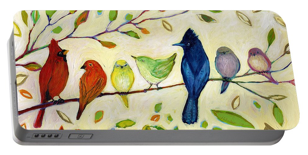 Bird Portable Battery Charger featuring the painting A Flock of Many Colors by Jennifer Lommers
