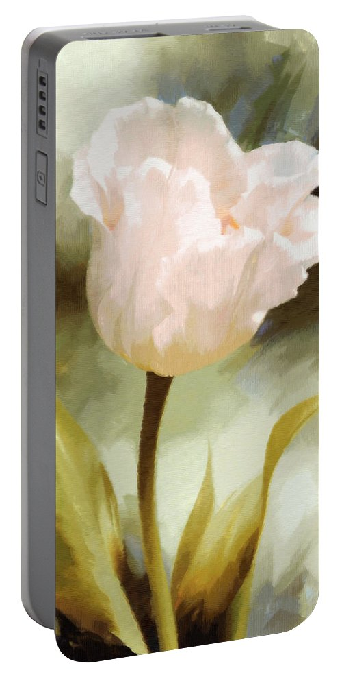 Impressionism Portable Battery Charger featuring the painting One Beautiful Flower Impressionism by Georgiana Romanovna