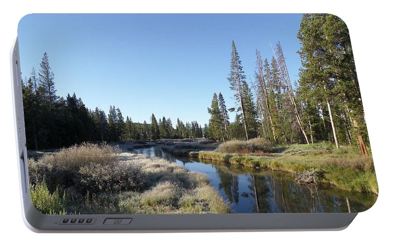 Blue Portable Battery Charger featuring the photograph A Frosty Morning Along Obsidian Creek by Frank Madia
