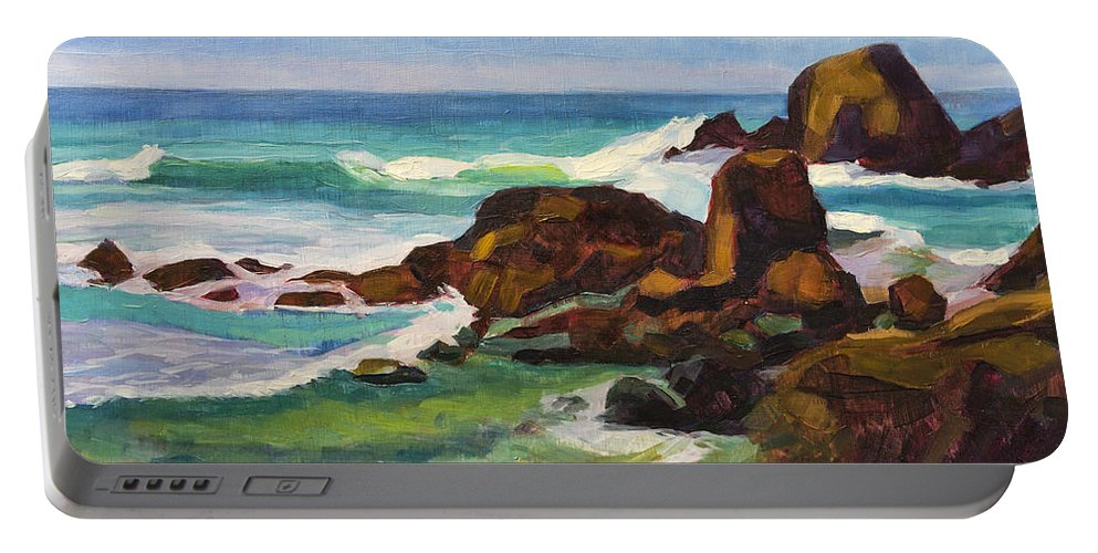 Frouxeira Portable Battery Charger featuring the painting A Frouxeira Galicia by Pablo Avanzini