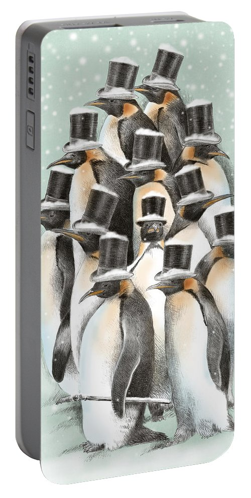 Penguins Portable Battery Charger featuring the drawing A Gathering in the Snow by Eric Fan