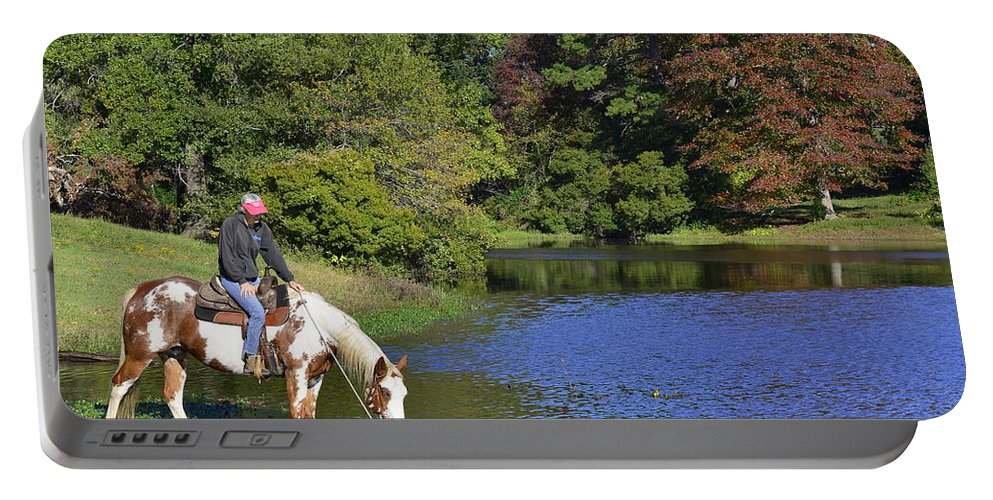 Karen Portable Battery Charger featuring the photograph A Girl And Her Horse by Philip Rispin