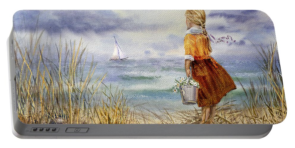 Girl And The Ocean Portable Battery Charger featuring the painting A Girl And The Ocean by Irina Sztukowski