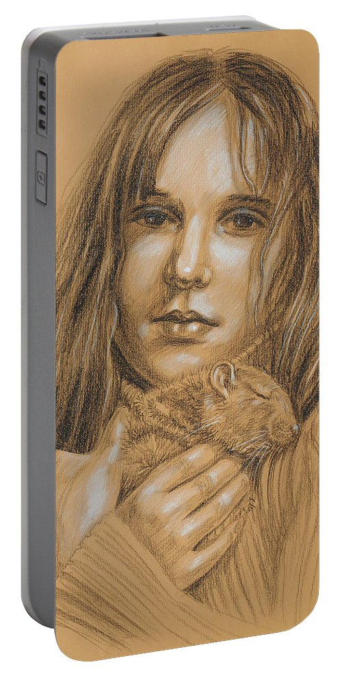 Girl Portable Battery Charger featuring the drawing A Girl With The Pet by Irina Sztukowski