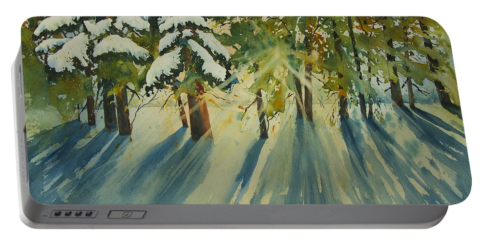 Forest Portable Battery Charger featuring the painting A Glow In The Forest by Dee Carpenter