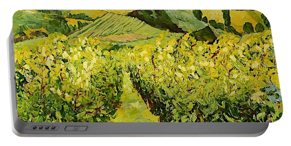 Landscape Portable Battery Charger featuring the painting A Good Year by Allan P Friedlander