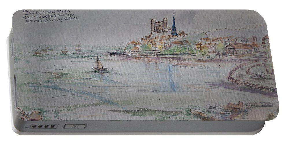 France Portable Battery Charger featuring the painting A Goodbye To Escala by Avonelle Kelsey
