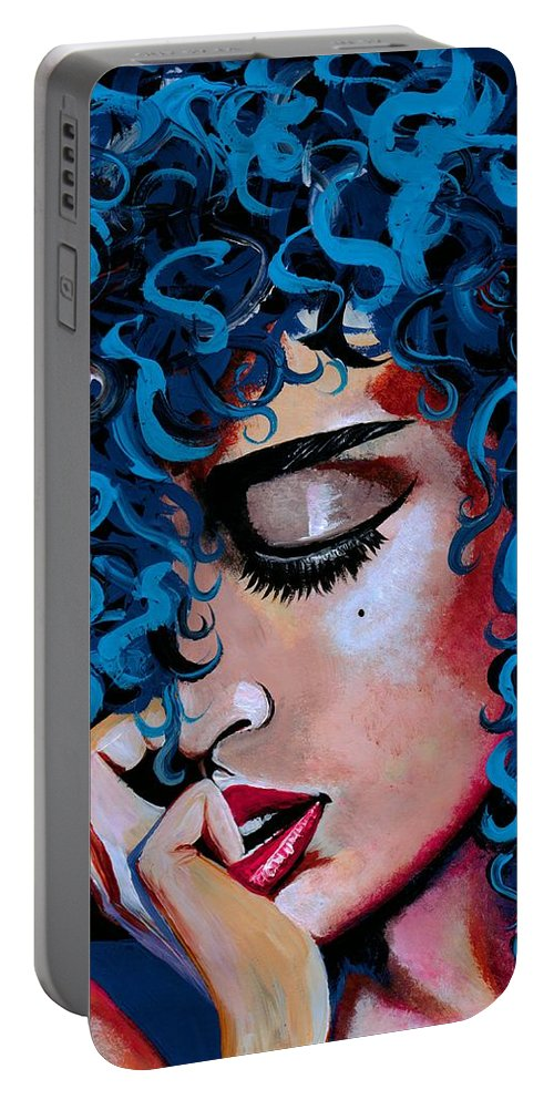 Model Portable Battery Charger featuring the photograph A Happy Woman is a Satisfied Woman by Artist RiA