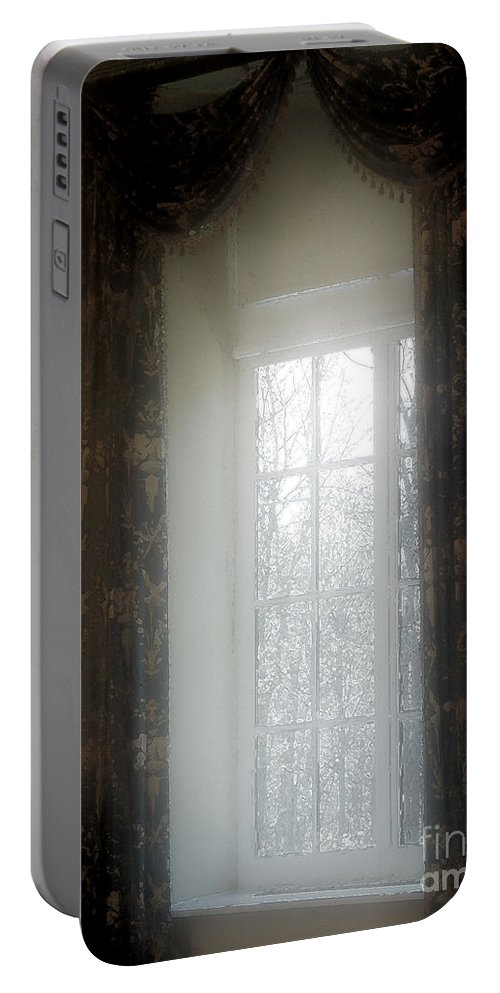 Curtains Portable Battery Charger featuring the painting A Hazy Shade Of Winter by RC DeWinter