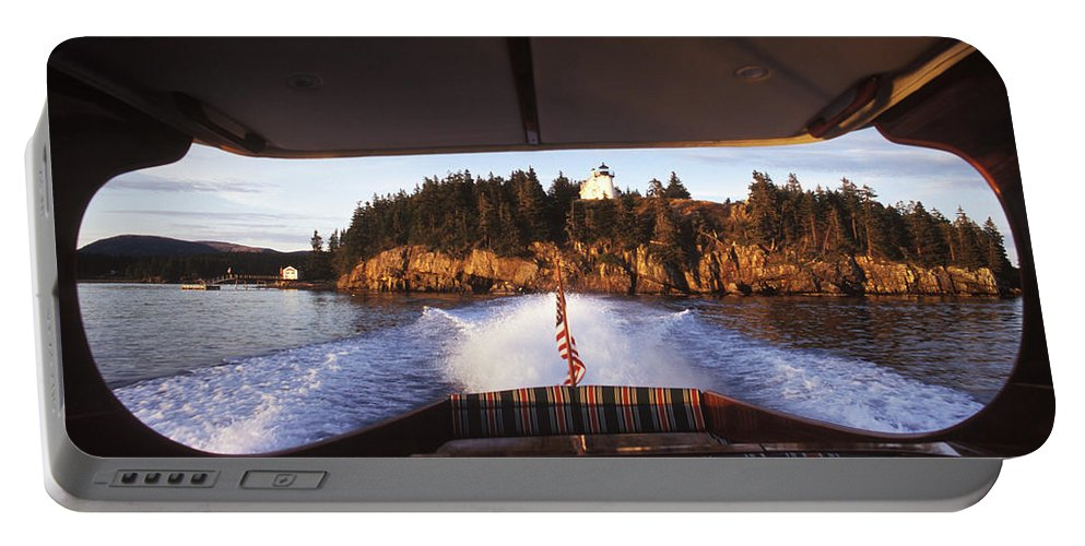 Afternoon Portable Battery Charger featuring the photograph A Hinckley Picnic Boat Travels by David McLain