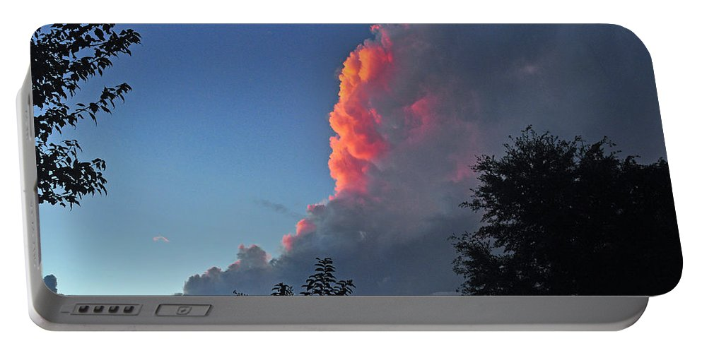 Cloud Portable Battery Charger featuring the photograph A Hint Of Pink by Deborah Good