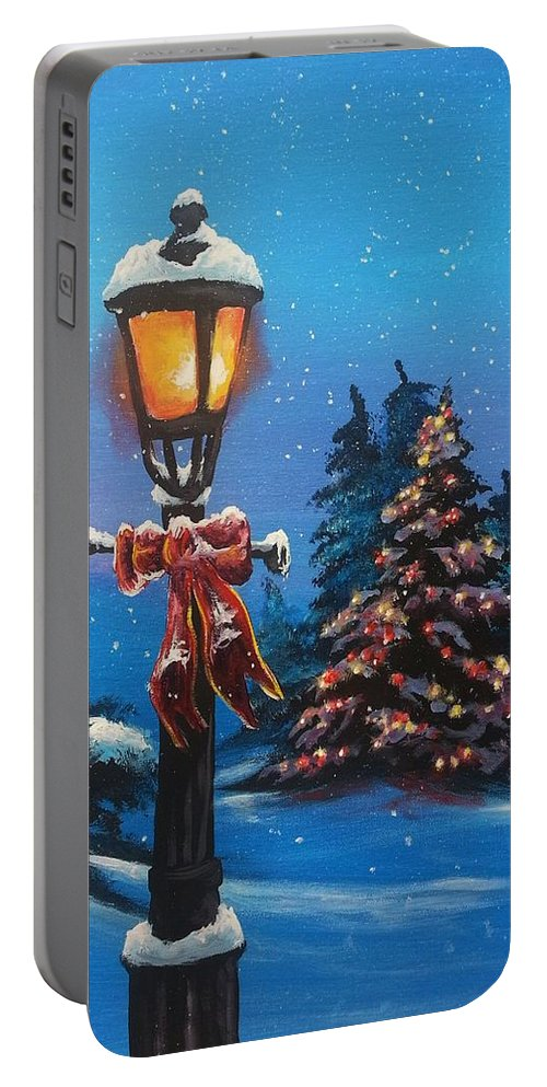 Snow Portable Battery Charger featuring the painting A Holiday Carol by Marco Antonio Aguilar