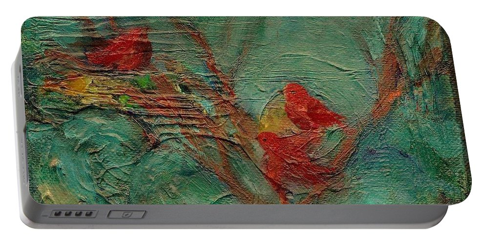 Whimsical Bird Painting Portable Battery Charger featuring the painting A Home In The Woods by Mary Wolf