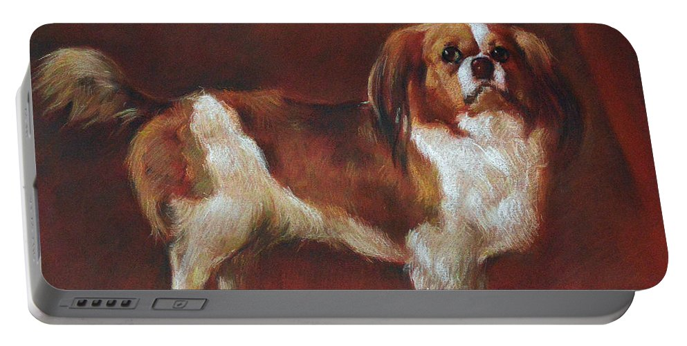 Pastel Portable Battery Charger featuring the pastel A King Charles Spaniel by Iliyan Bozhanov