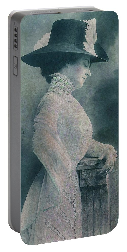A Lady Ponders Portable Battery Charger featuring the digital art A Lady Ponders by Sarah Vernon