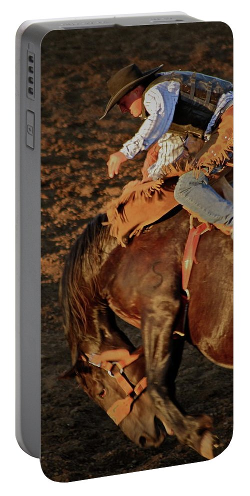 Rodeo Portable Battery Charger featuring the photograph A Leap And A Bound by Laddie Halupa