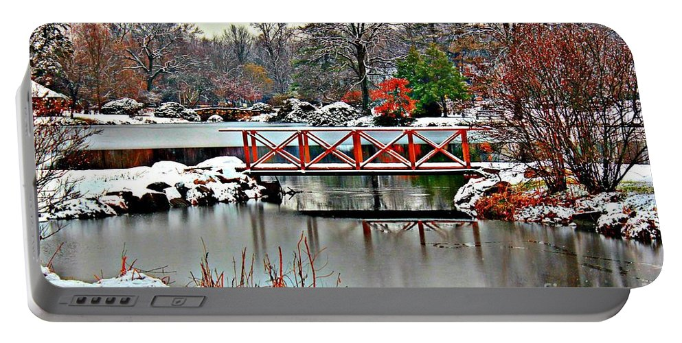 Winter Portable Battery Charger featuring the photograph A Light Dusting Of Snow by Judy Palkimas