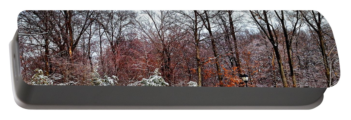 Snow Portable Battery Charger featuring the photograph A Light Dusting by Frozen in Time Fine Art Photography
