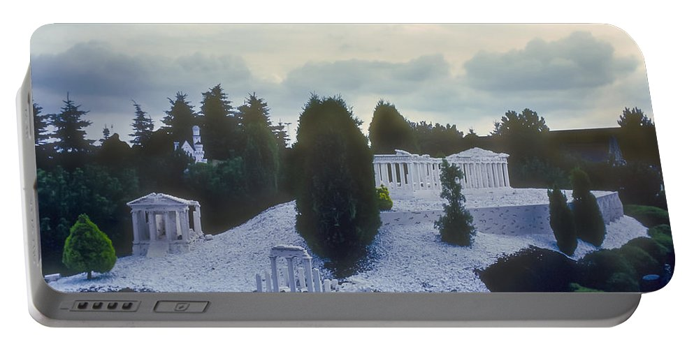 Legoland Billund Denmark Lego Legos Tree Trees Replica Replicas Artwork Odds And Ends Portable Battery Charger featuring the photograph A Little Bit Of Athens by Bob Phillips