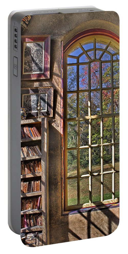 Byzantine Portable Battery Charger featuring the photograph A Look From The Library by Susan Candelario