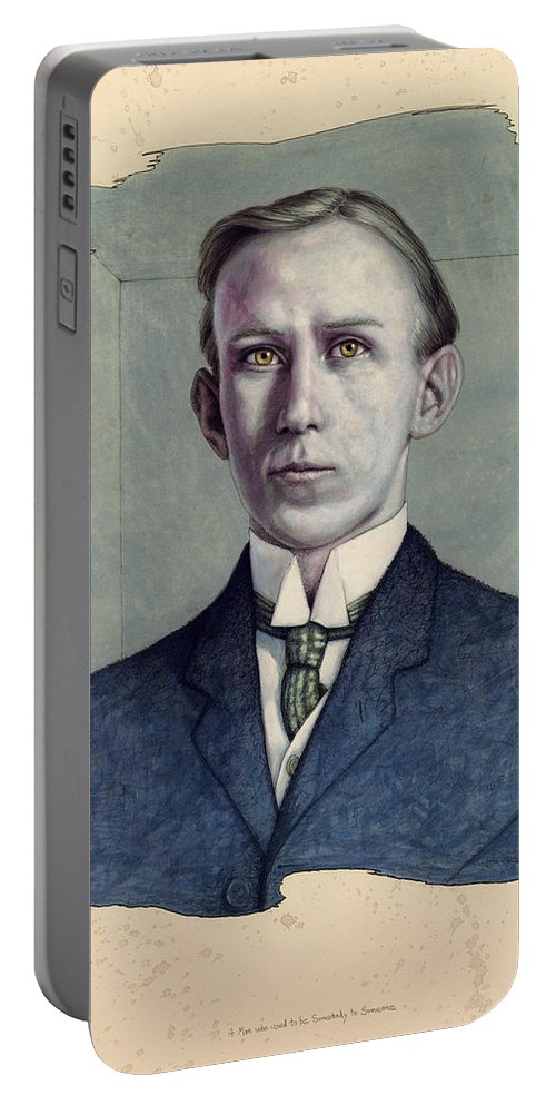 Young Man Portable Battery Charger featuring the painting A Man Who Used To Be Somebody To Someone by James W Johnson